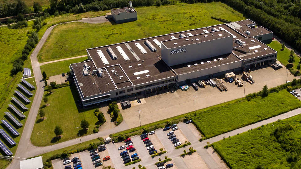 Aerial view of KOSTAL company building in Hagen, Germany